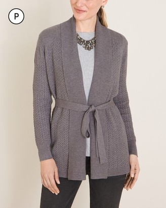 Chico's Petite Belted Cable Cardigan Sweater