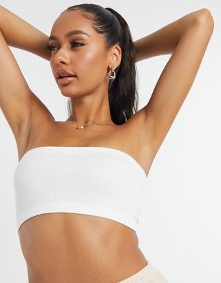 Cotton On seamfree rib bandeau bra in white