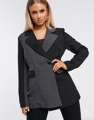 UNIQUE21 contrast paneled wrap blazer in black & gray