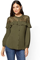 New York & Co. Lace-Accent Ruffled Blouse