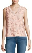 T Tahari Harla Embroidered Floral Top