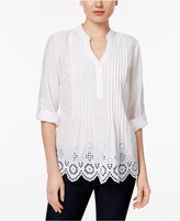 Style&Co. Style & Co Style & Co Petite Eyelet-Hem Pleated Top, Created for Macy's