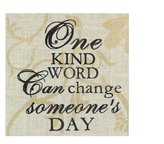 Young's One Kind Word Burlap Box Sign, 11-Inch