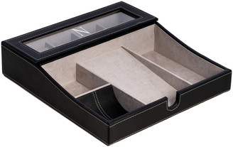 Bey-Berk Black Leather Valet Tray