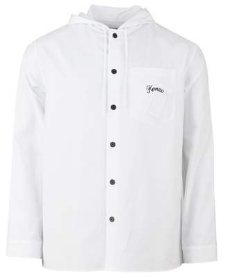 Kenzo Hooded Bamboo Jumping Tiger Back Shirt Colour: WHITE, Size: SMAL