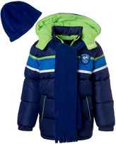 iXtreme Navy & Green Puffer Coat - Toddler & Boys