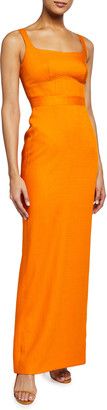 Brandon Maxwell Stretch Viscose Square-Neck Gown