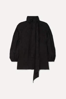 Chloé Plisse-jacquard Blouse - Black