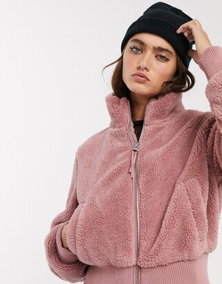 Bershka zip up fleece jacket in pink