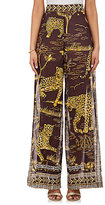 Valentino WOMEN'S JAGUAR-PRINT COTTON WIDE-LEG PANTS