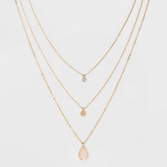 A New Day Three Rows Disc Layered Necklace Gold
