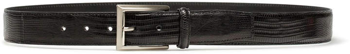Magnanni Men's Lizard Silvertone-Buckle Belt, Black
