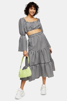 Topshop Womens Black And White Gingham Tiered Skirt - Monochrome