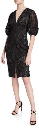 Badgley Mischka V-Neck Blouson-Sleeve Lace Sheath Dress