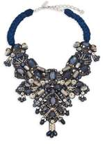 Oscar de la Renta Crystal & Silver Beaded Bib Necklace
