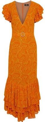 De La Vali Apolonia Ruffled Crystal-embellished Printed Georgette Maxi Dress