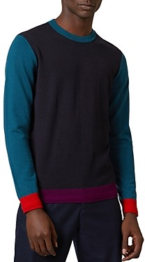 Ted Baker Color-Blocked Crewneck Long Sleeve Sweater