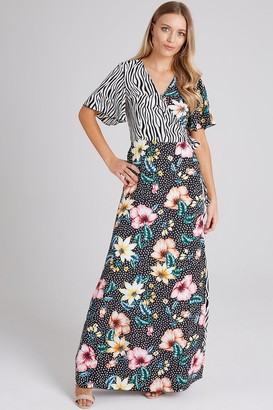 Girls On Film Clarity Mixed-Print Wrap Maxi Dress