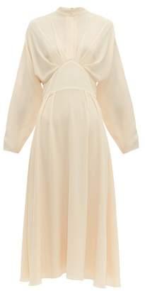 Emilia Wickstead Autumn King Wave Pleated-bodice Crepe Midi Dress - Womens - Nude