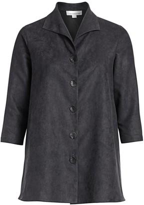 Caroline Rose, Plus Size Autumn Hues Faux Suede City Jacket