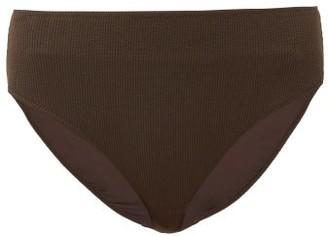 Ganni High-rise Ribbed Bikini Briefs - Dark Brown