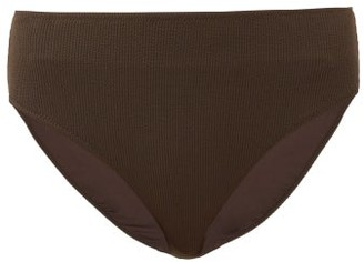 Ganni High-rise Ribbed-jersey Seersucker Bikini Briefs - Womens - Dark Brown