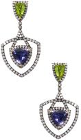 Artisan Trillion Iolite, Peridot & 2.90 Total Ct. Diamond Drop Earrings