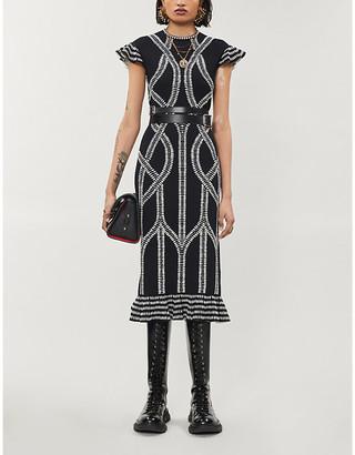 Alexander McQueen Geometric-print stretch-woven midi dress