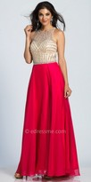 Dave and Johnny Illusion Back Rhinestone Encrusted Chiffon A-line Prom Dress