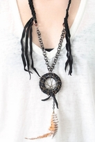 Jens Pirate Booty Dreamcatcher Necklace in Black Leather