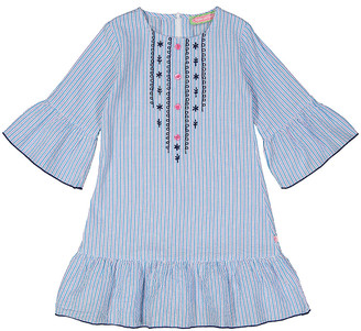 SAM. Sophie & Girls' Casual Dresses Blue - Blue Floral Embroidered Ruffle-Trim Shift Dress - Toddler & Girls