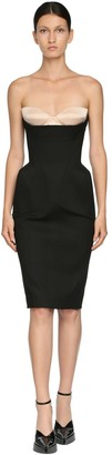 Thierry Mugler Stretch Gabardine Dress & Satin Bustier