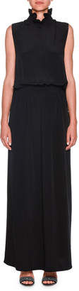 Giorgio Armani Sleeveless Smocked-Waist Silk Gown