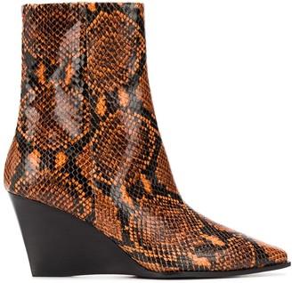 AEYDĒ Snake Print Boots