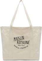 MAISON KITSUNÉ Ecru 'Palais Royal' Logo Tote