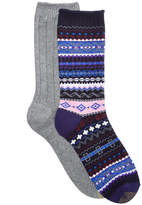 Gold Toe Women's 2-Pk. Ribbed and Multicolor Fair Isle Boot Socks