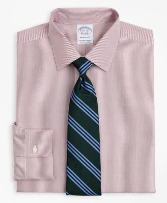 Brooks Brothers Stretch Regent Fitted Dress Shirt, Non-Iron Poplin Ainsley Collar Fine Stripe
