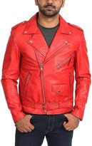 House of Leather Mens Real Leather Biker Brando Style Jacket Popular Zip Up Coat Johnny