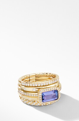 David Yurman Stax 18k Yellow Gold Statement Ring with Tanzanite & Diamonds