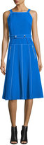 GREY by Jason Wu Sleeveless Topstitched A-Line Dress w/ Belt