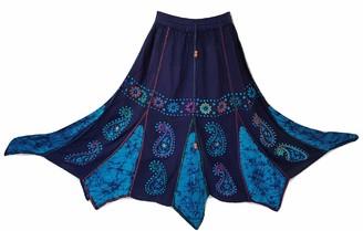 Doorwaytofashion Boho Batik Skirt Pixie Hem Hippie Mirror Work Embroidery Free Size 8 10 12 14 16 (Navy/Turquoise)