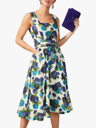 Phase Eight Janetta Floral Print Fit and Flare Dress, Blue/Cream