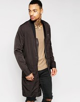 Asos Bomber Jacket In Extreme Longline With Drop Collar in Black