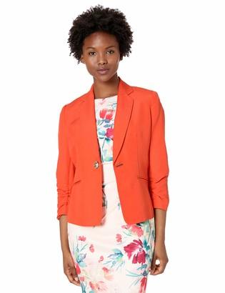 Kasper Women's Petite Hardwear Closure Notch Collar Linen Jacket
