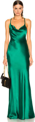 Galvan Silk Whiteley Dress in Green | FWRD