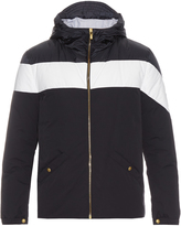 Moncler Gamme Bleu Contrast-stripe hooded down jacket
