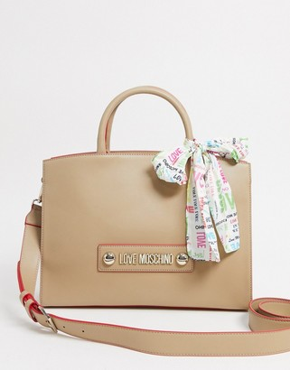 Love Moschino tote bag with scarf handle in beige