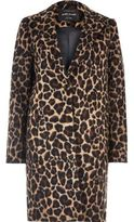 River Island Womens Brown leopard print overcoat