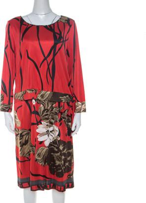 Elie Tahari Red Printed Jersey Layered Dress L