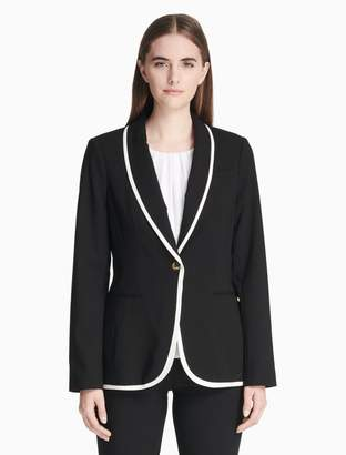 Calvin Klein Luxe Piped Shawl Collar Jacket